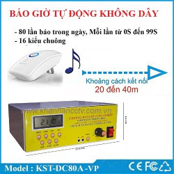 Bộ chuông báo giờ nhạc điệu không dây tự động KST-DC80A-VP