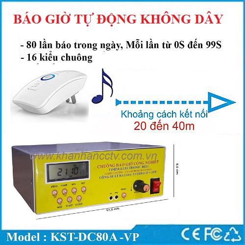 Bộ chuông báo giờ nhạc điệu không dây tự động KST-DC80A-VP, đại lý, phân phối,mua bán, lắp đặt giá rẻ