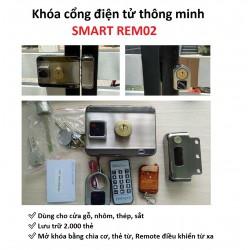 Khóa cổng điện tử thông minh SMART REM02, thẻ từ, remote, chìa cơ