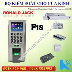 Bộ kiểm soát cửa vân tay thẻ từ F18 cho cửa Kính